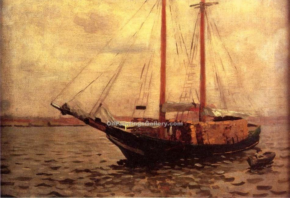 """The Lumber Boat"" by  Thomas Pollock Anschutz"
