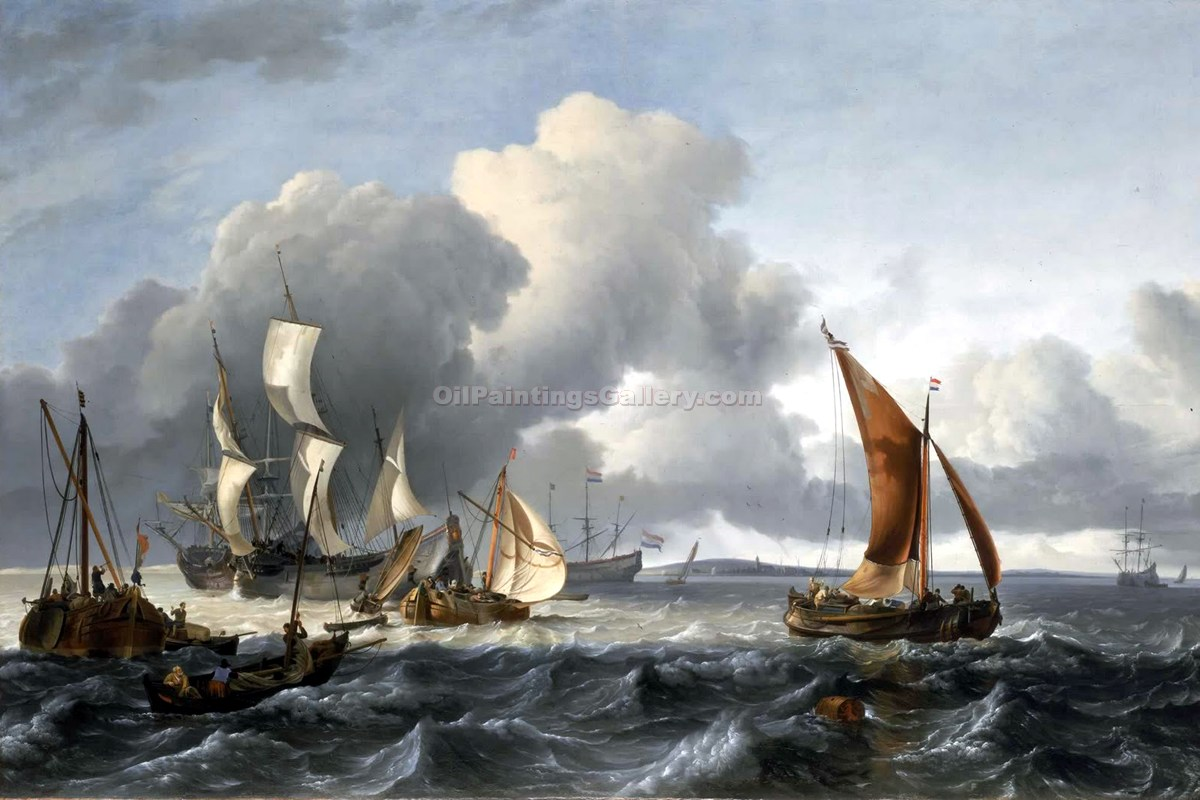 The Merchant Shipping Anchorage in Texel Island by Ludolf Backhuysen | Canvas Oil Painting - Oil Paintings Gallery