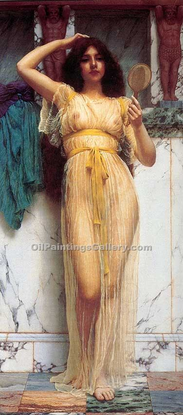 """The Mirror 80"" by  John William Godward"