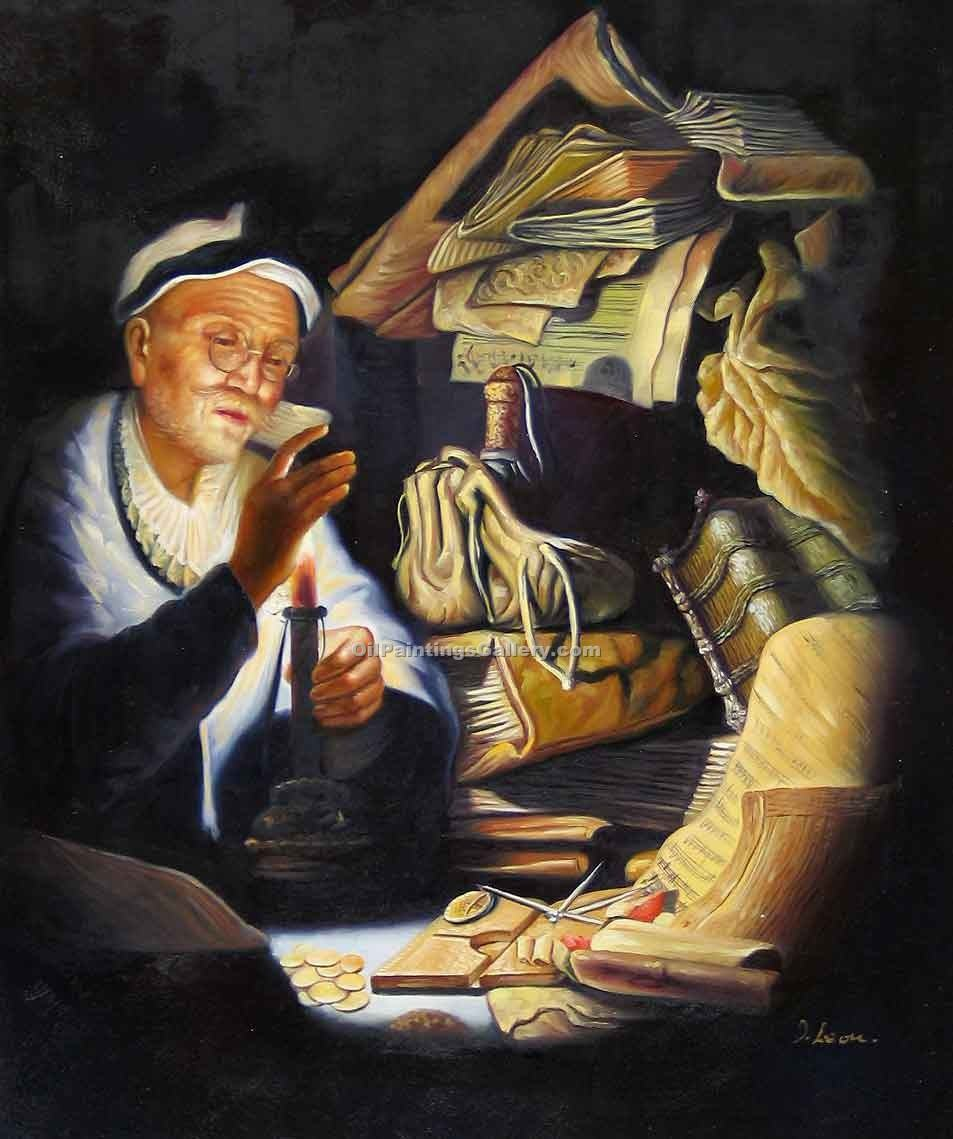 """The Moneychanger"" by  Harmenszoonvan Van Rijn Rembrandt"