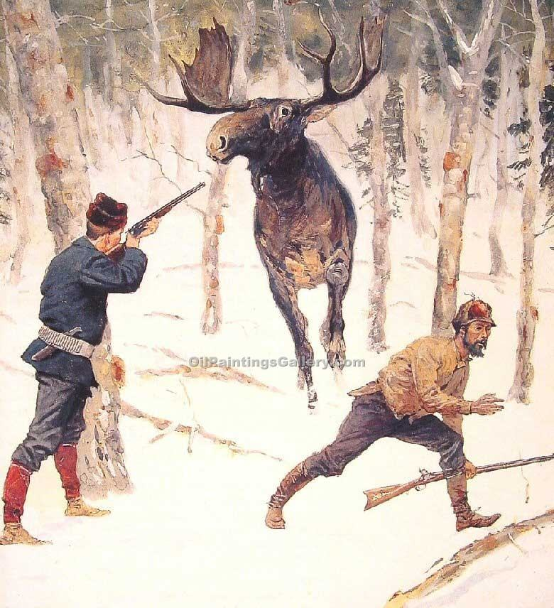 """The Moose Hunt"" by  Frederic Remington"