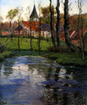 The Old Church by the River by  Fritz Thaulow (Painting ID: LA-0602-KA)