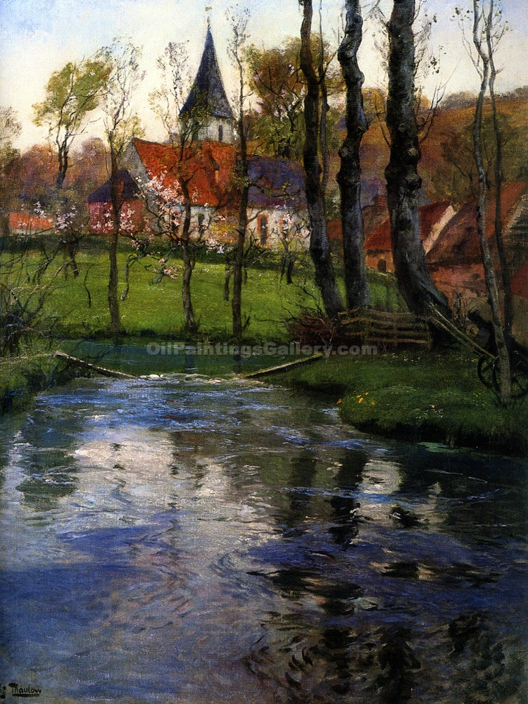 """The Old Church by the River"" by  Fritz Thaulow"