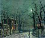 The Old Hall Under Moonlight by  John Atkinson Grimshaw (Painting ID: LA-0250-KA)
