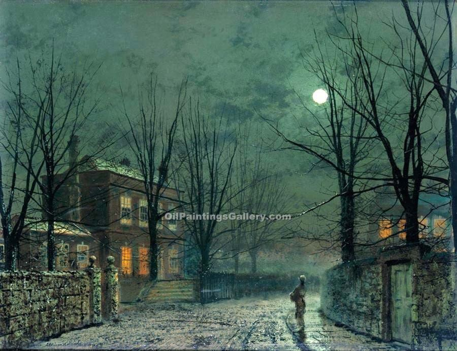 """The Old Hall Under Moonlight"" by  John Atkinson Grimshaw"