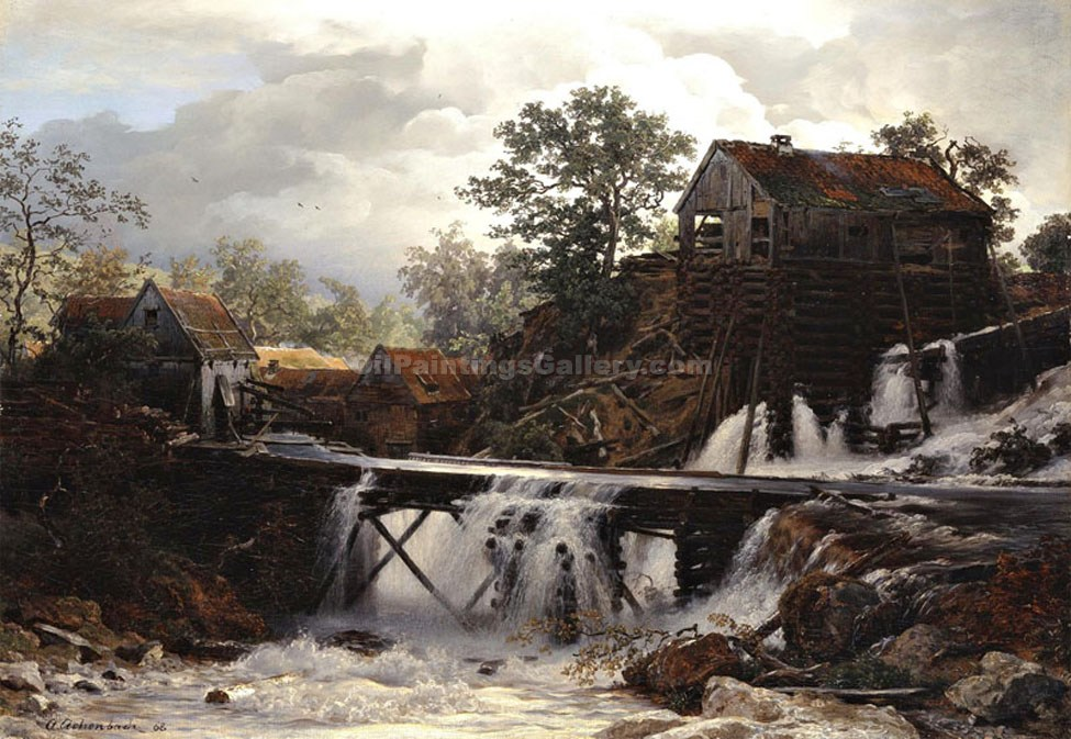 """The Old Mill"" by  Andreas Achenbach"