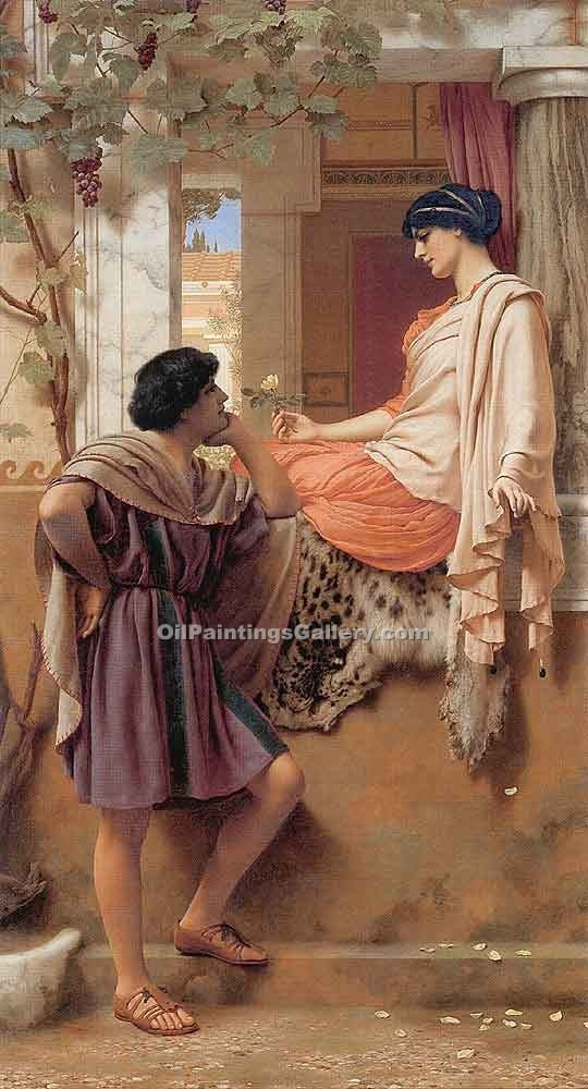 The Old Old Story 56 by John William Godward | Oil Painting Landscapes - Oil Paintings Gallery
