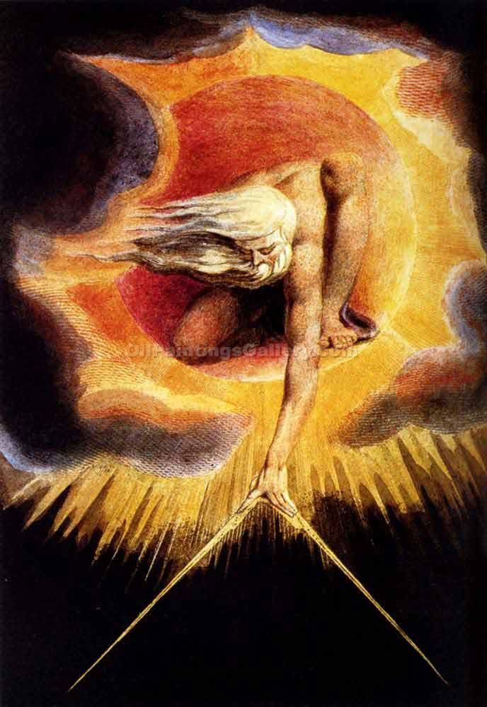 The Omnipotent by William Blake | Canvas Oil Painting - Oil Paintings Gallery