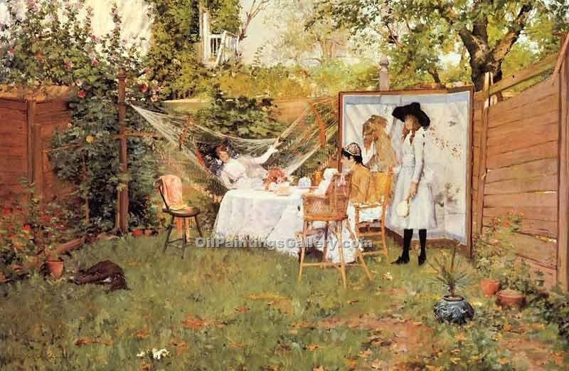 """The Open Air Breakfast"" by  William Merritt Chase"