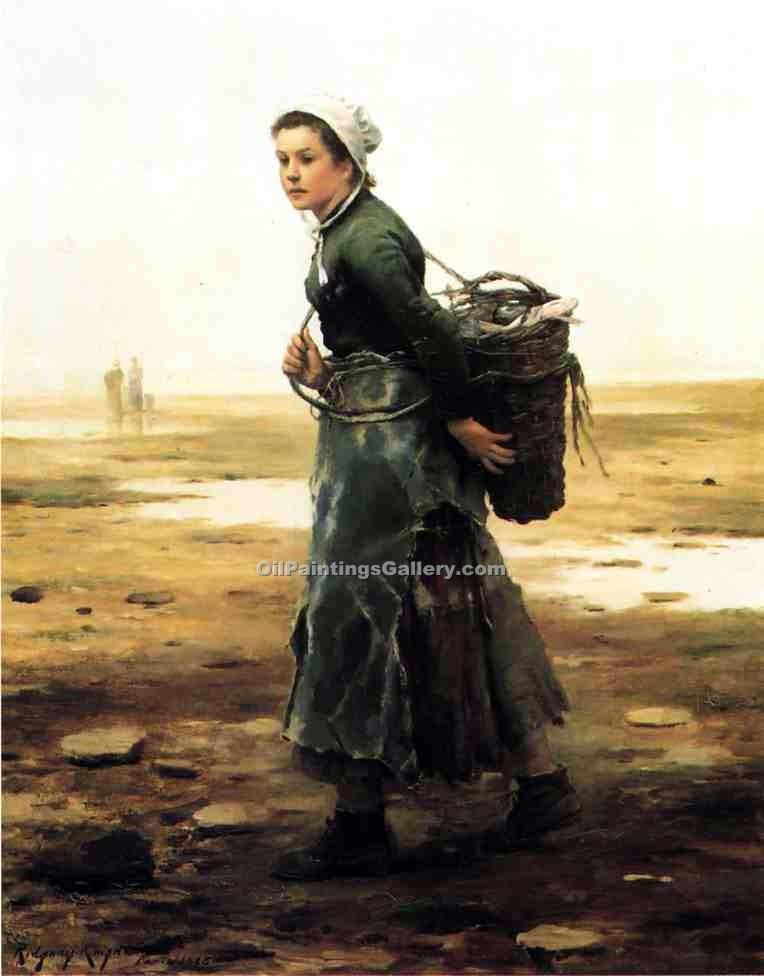 """The Oyster Gathere"" by  Daniel Ridgway Knight"