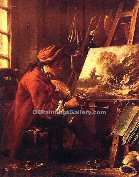 The Painter in His Studio by Boucher Francois | Landscape Paintings - Oil Paintings Gallery