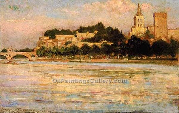 """The Palace of the Popes, Pont d Avignon, France"" by  James Carroll Beckwith"