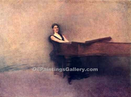 The Piano by Dewing Thomas Wilmer | Black And White Painting - Oil Paintings Gallery