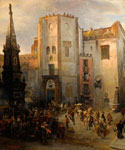 The Piazza San Domenico in May by  Oswald Achenbach (Painting ID: LA-2282-KA)
