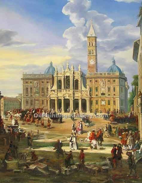 """The Piazza and Church of Santa Maria Maggiore 50"" by  Giovanni Paolo Pannini"