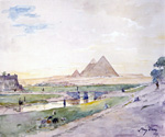 The Pyramids from Afar by  Henry Bacon (Painting ID: LA-0530-KA)