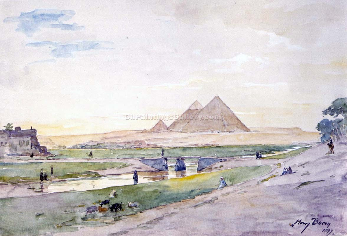"""The Pyramids from Afar"" by  Henry Bacon"