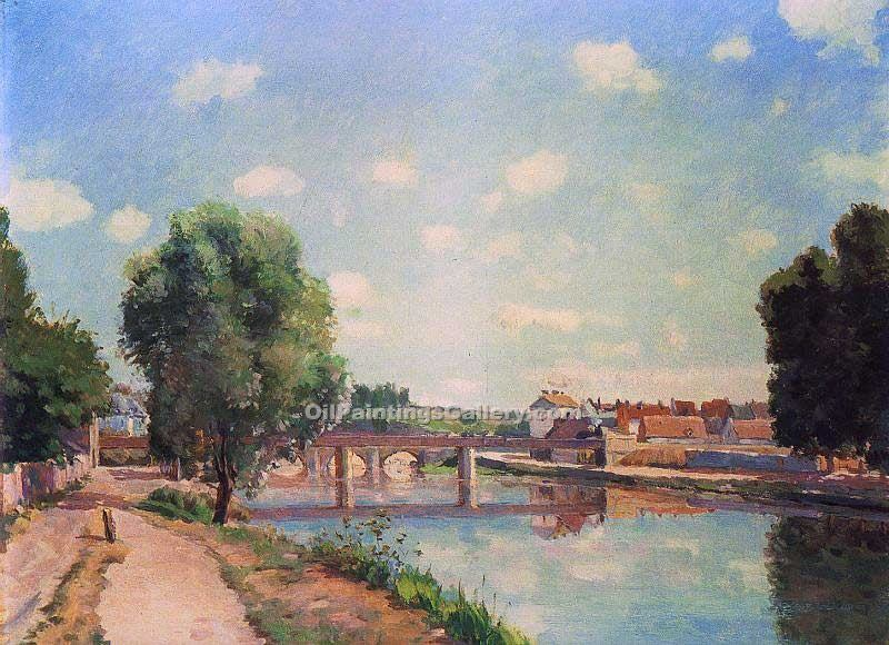 """The Railway Bridge at Pontoise"" by  Camille Pissarro"