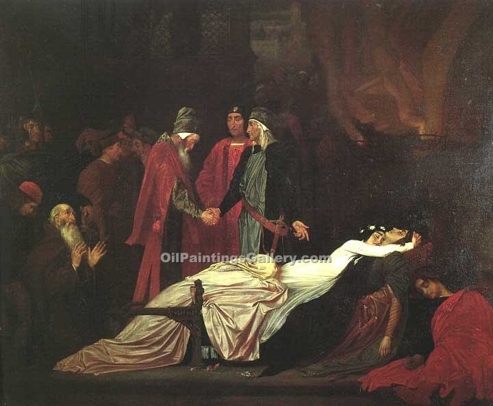 """The Reconciliation over the Bodies of Romeo and Juliet"" by   Leighton Frederic"