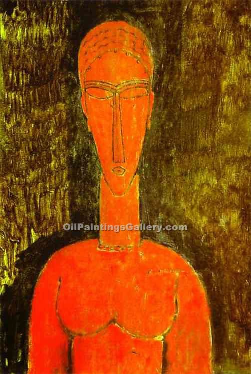 The Red Bust by AmedeoModigliani | Landscape Oil Paintings - Oil Paintings Gallery