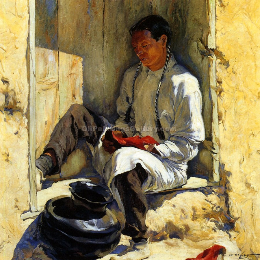 """The Red Moccasins"" by  Walter Ufer"
