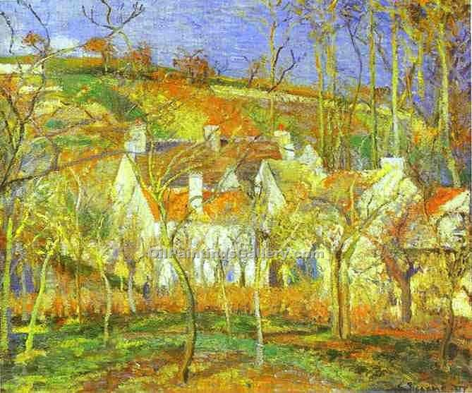 """The Red Roofs"" by  Camille Pissarro"