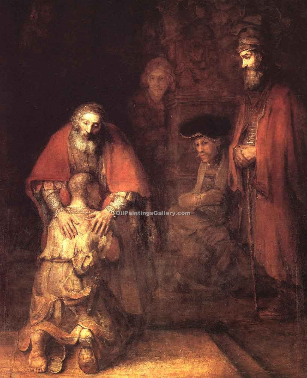 The Return of the Prodigal Son 87 by Rembrandt Harmenszoonvan VanRijn | Landscape Paintings - Oil Paintings Gallery