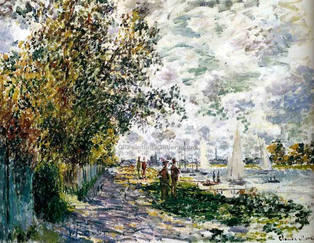 """The Riverbank at Gennevilliers"" by  Claude Monet"