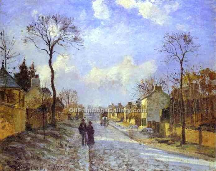 """The Road to Louveciennes"" by  Camille Pissarro"