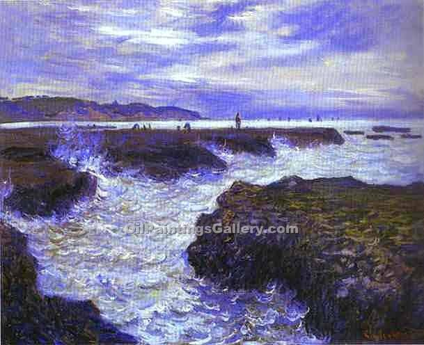 """The Rocks near Pourville at Ebb Tide"" by  Claude Monet"
