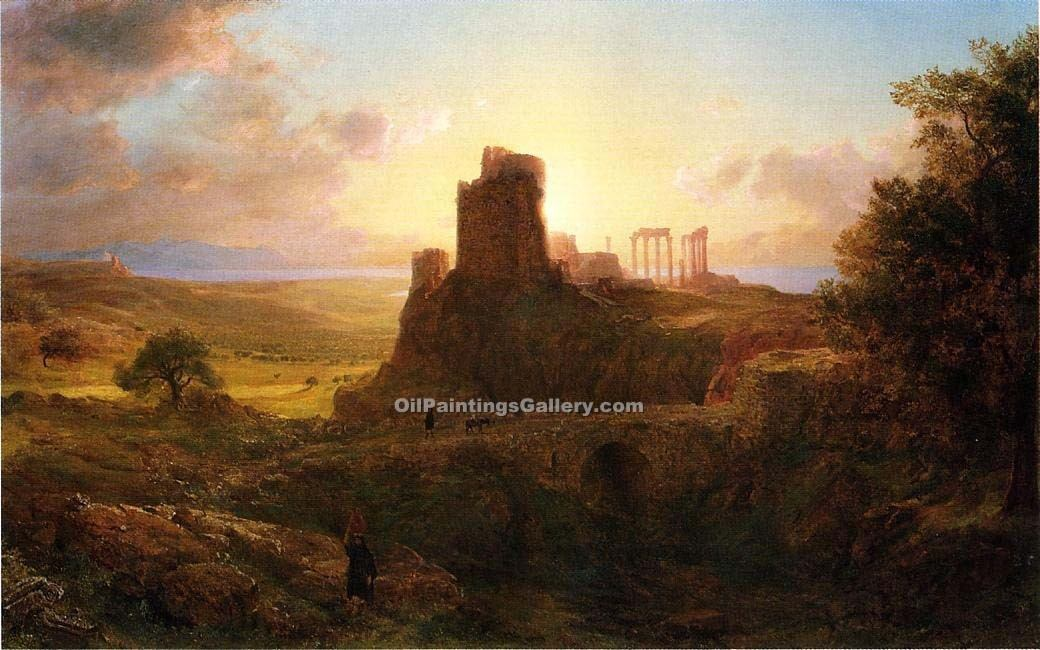 The Ruins at Sunion Greece by Frederic Edwin Church | Paintings Of Famous Artists - Oil Paintings Gallery