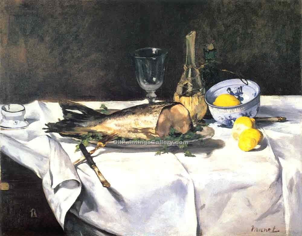 The Salmon by Manet Edouard | Painted Artwork - Oil Paintings Gallery