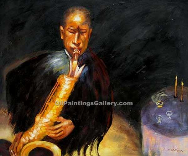Buy Music Instruments or Piano Oil Painting Online - Figurative Reproduction Paintings - The Sax Player