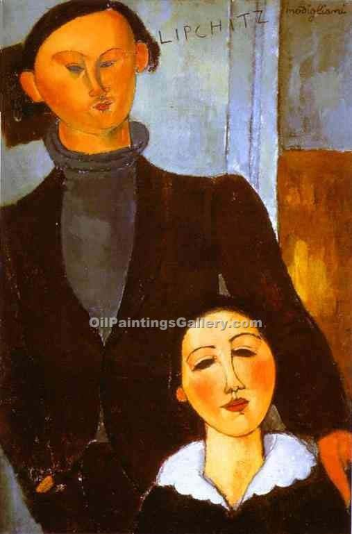 The Sculptor Jacques Lipchitz and His Wife by AmedeoModigliani | Modern Art Online Gallery - Oil Paintings Gallery