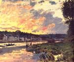The Seine at Bougival in the Evening by  Claude Monet (Painting ID: MO-0909-KA)