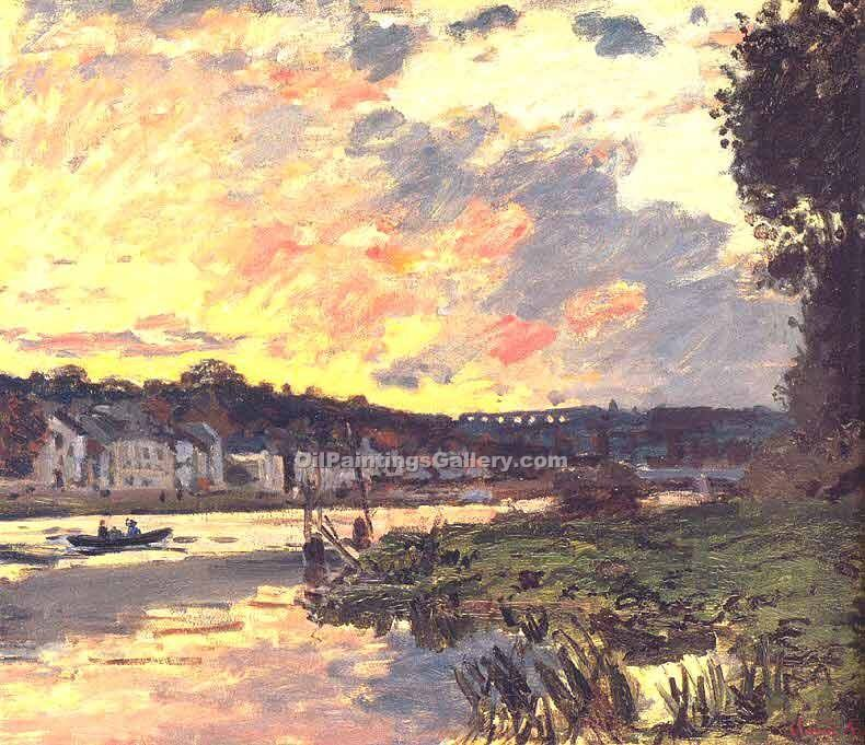"""The Seine at Bougival in the Evening1"" by  Claude Monet"