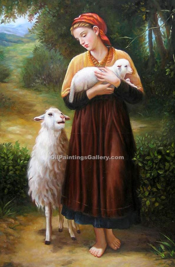 The Shepherdess by Bouguereau Adolphe | Modern Artists Paintings - Oil Paintings Gallery