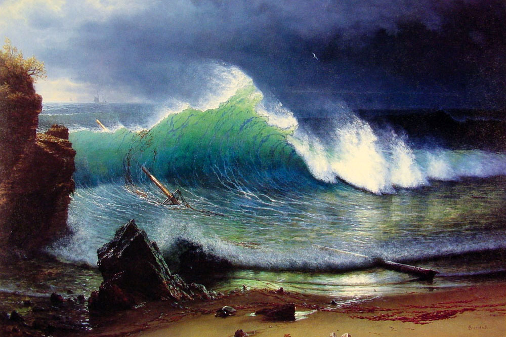 """The Shore of the Turquoise Sea"" by  Albert Bierstadt"