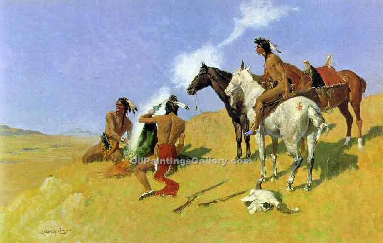 """The Smoke Signal"" by  Frederic Remington"