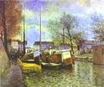 The St. Martin Canal in Paris by  Alfred Sisley (Painting ID: LA-0349-KA)