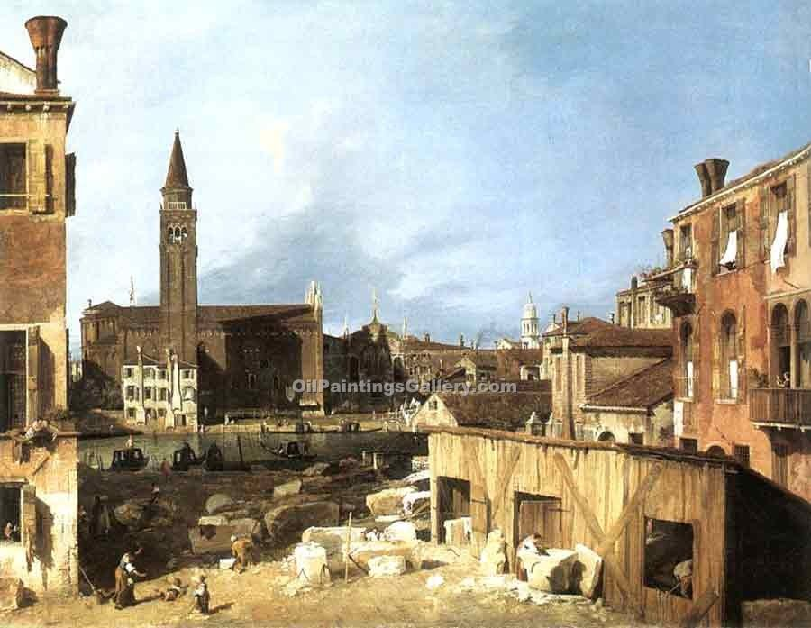 """The Stonemasons Yard"" by  Antonio Canaletto"