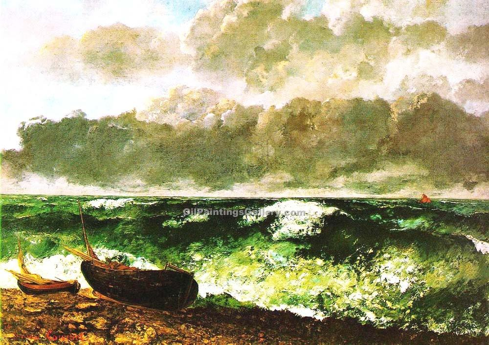 The Stormy Sea or the Wave by Gustave Courbet | Figurative Paintings - Oil Paintings Gallery