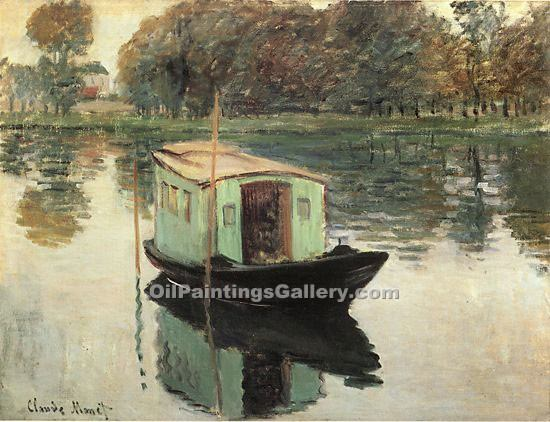 """The Studio Boat 06"" by  Claude Monet"