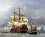 The Taking of the English Flagship The Royal Prince by  Willem Van De Velde (Painting ID: CL-0026-KA)