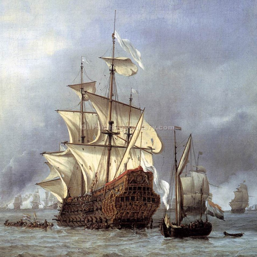 """The Taking of the English Flagship The Royal Prince"" by  Willem Van De Velde"
