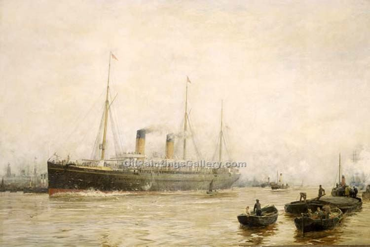 """The Teutonic Leaving Liverpool"" by  William Lionel Wyllie"
