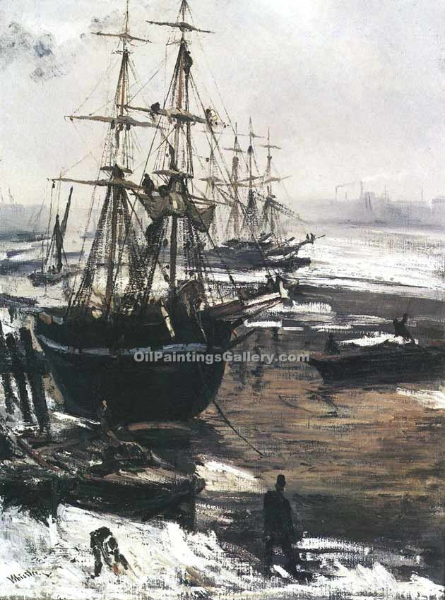 The Thames in Ice by Whistler James McNeill | Modern Art Artists - Oil Paintings Gallery