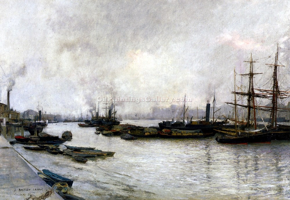 The Thames in London in 1882 by JulesBastien Lepage | Acrylic Paintings - Oil Paintings Gallery