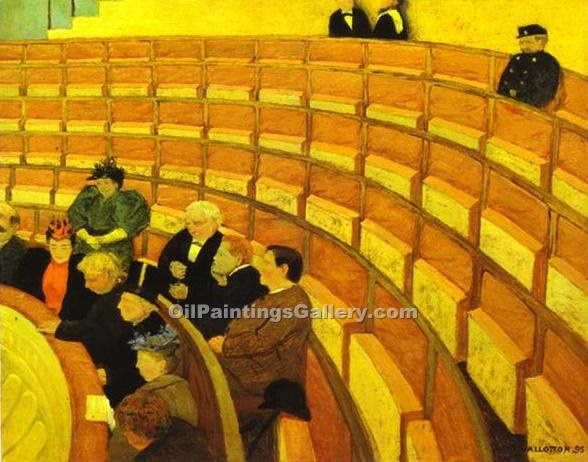 """The Third Gallery at the Theatre du Chalet"" by  Felix Vallotton"