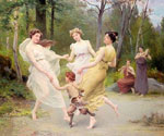 The Three Graces Dancing with a Faun by  Jules Scalbert (Painting ID: ED-0693-KA)